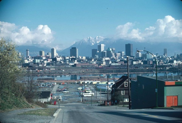 Looking north to an industrial False Creek South in the early 70's from the perch of 7th and Oak.